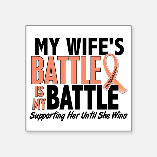 "My Battle Too Uterine Cancer Square Sticker 3"" x 3"