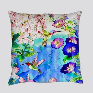 Hummingbirds and Flowers Landscape Everyday Pillow