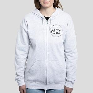 Mu Sigma Upsilon Letters in Cir Women's Zip Hoodie