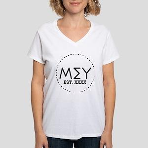 Mu Sigma Upsilon Letters in Women's V-Neck T-Shirt