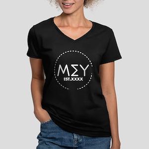 Mu Sigma Upsilon Lette Women's V-Neck Dark T-Shirt