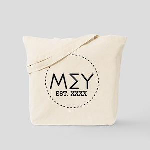 Mu Sigma Upsilon Letters in Circle Tote Bag