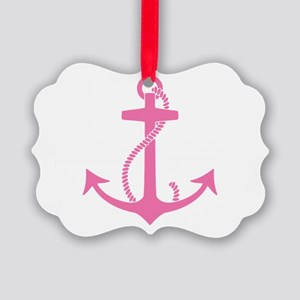 Pink Anchor Picture Ornament