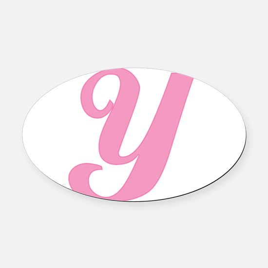 Y-pink-initial_tr.png Oval Car Magnet
