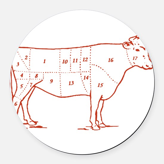 beef-cuts-retro.png Round Car Magnet