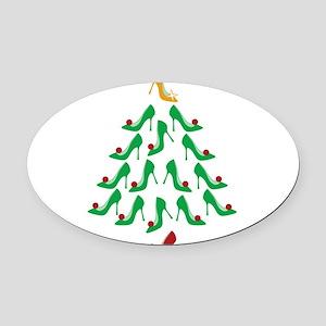 High Heel Shoe Holiday Tree Oval Car Magnet