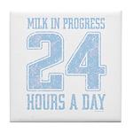 Milk In Progress Blue Tile Coaster