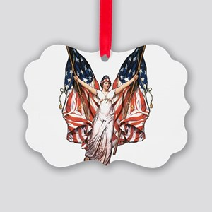 vintage-flag-bearer Picture Ornament