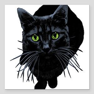 "black-kitty Square Car Magnet 3"" x 3"""
