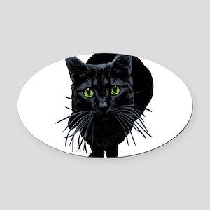 black-kitty Oval Car Magnet