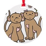 monkey-couple.png Round Ornament
