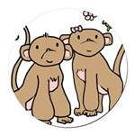 monkey-couple.png Round Car Magnet