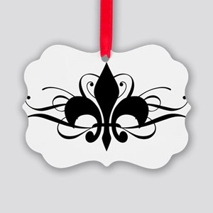 fleur-de-lis-swirls_dark Picture Ornament