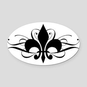 fleur-de-lis-swirls_dark Oval Car Magnet