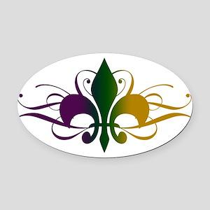 fleur-de-lis-swirls_color Oval Car Magnet