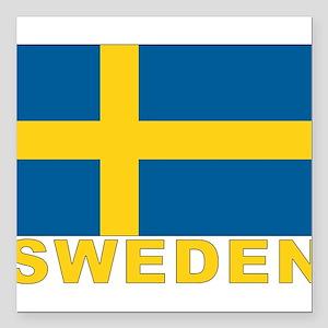 """sweden_b Square Car Magnet 3"""" x 3"""""""
