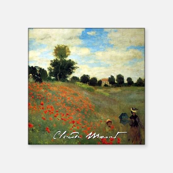 Monet Wild Poppies near Argenteuil Square Sticker