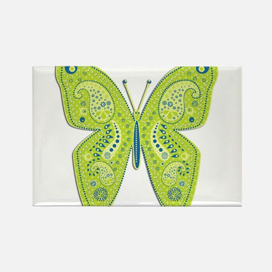 Lime and Blue Paisley Butterfly Rectangle Magnet