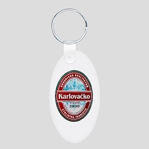 Croatia Beer Label 1 Aluminum Oval Keychain