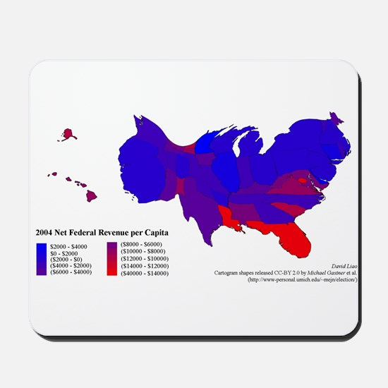 Federal Income Tax/Spending Map Mousepad