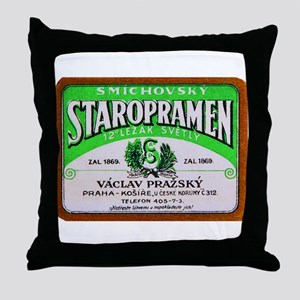 Czech Beer Label 11 Throw Pillow