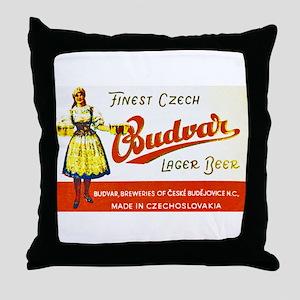 Czech Beer Label 8 Throw Pillow
