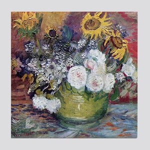Van Gogh Roses And Sunflowers Tile Coaster
