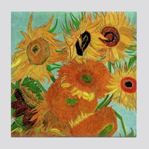Van Gogh Twelve Sunflowers Tile Coaster