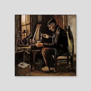 "Van Gogh Man Winding Yarn Square Sticker 3"" x 3"""