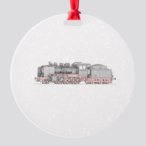Steam Engine Train Round Ornament