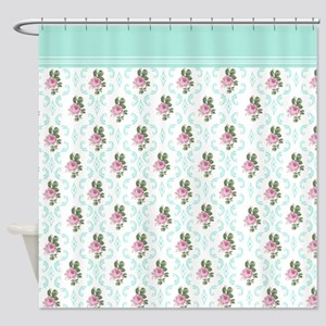 Luxurious English Rose Floral Shower Curtain
