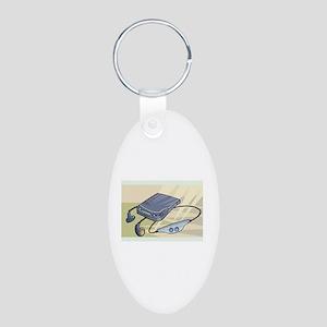 Headphones Aluminum Oval Keychain