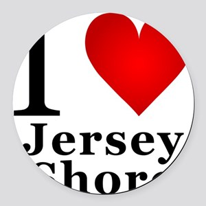 I Love Jersey Shore Round Car Magnet