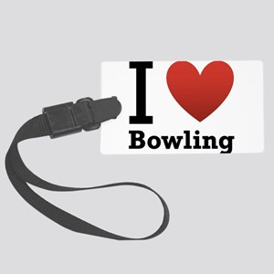 i-love-bowling-light-tee Large Luggage Tag