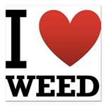 i-love-weed Square Car Magnet 3