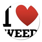 i-love-weed Round Car Magnet