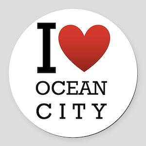 I <3 Ocean City Round Car Magnet