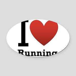 I Love Running Oval Car Magnet