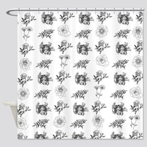 Black White Flowers Shower Curtains - CafePress