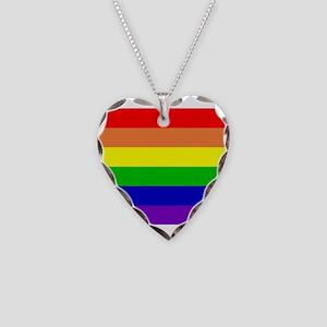 Rainbow Flag Necklace Heart Charm