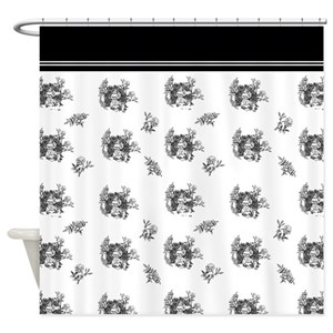 Black White Toile Shower Curtains