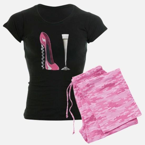 Pink Corkscrew Stiletto and Champagne Flute Women'