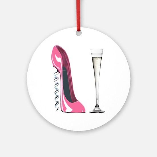 Pink Corkscrew Stiletto and Champagne Flute Orname