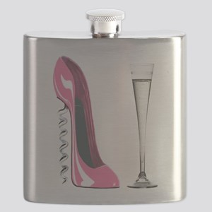 Pink Corkscrew Stiletto and Champagne Flute Flask