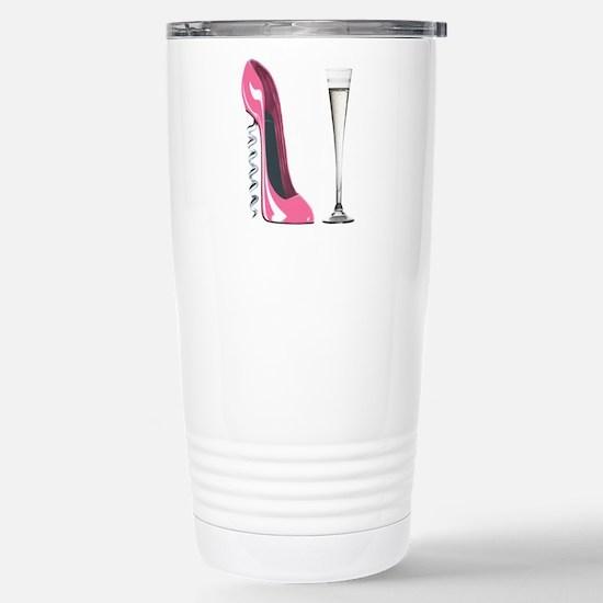 Pink Corkscrew Stiletto and Champagne Flute Cerami