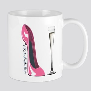 Pink Corkscrew Stiletto and Champagne Flute Mug