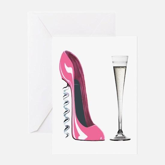 Pink Corkscrew Stiletto and Champagne Flute Greeti