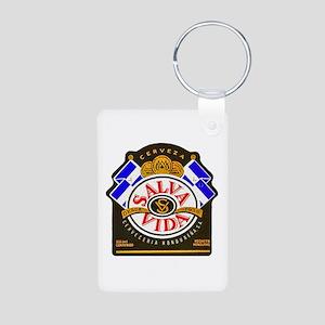 Honduras Beer Label 2 Aluminum Photo Keychain
