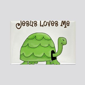 Jesus loves me - Turtle Rectangle Magnet