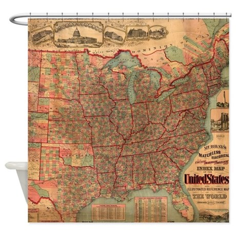Vintage United States Map 1883 Shower Curtain By ADMIN CP17960464